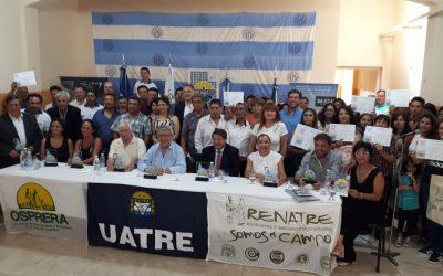 El RENATRE y la UATRE alfabetizaron a 839 trabajadores rurales en Tucumán, Santiago del Estero, San Juan y Mendoza