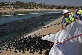¿Qué hacen 96 millones de esferas negras flotando en un lago?
