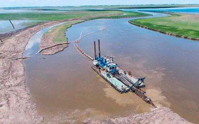 Avanza la obra de ampliación del cause del Río Salado